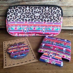 Handbags - Neoprene 3 Piece Bull Head/Leopard/Serape Set